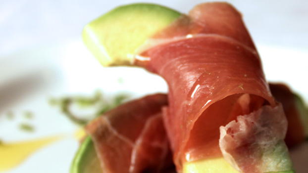 Avocado Wedges Wrapped in Serrano Ham