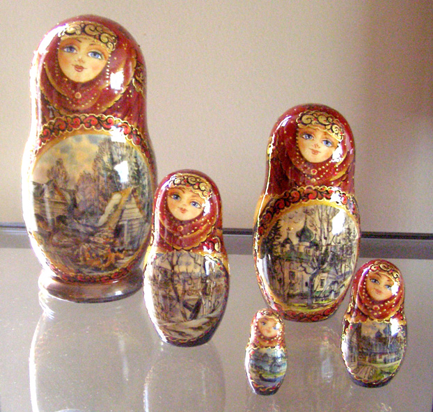 My Russian nesting matryoshka dolls that I purchased at the Princess Regal's gift shop.