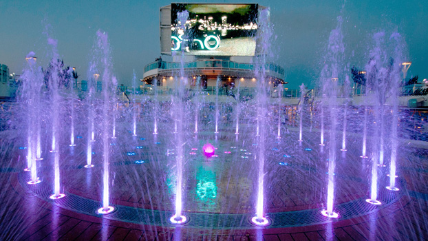 Royal Princess Water Fountain Show and Giant TV