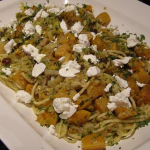 Bucatini Pasta with Roasted Chestnuts, Butternut Squash and Goat Cheese