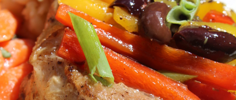 Brined Pork Chops with Peppers & Capers